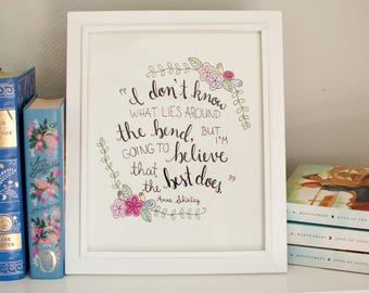 Anne of Green Gables - Original 8x10 - Literary Quote - Illustrated - Floral - Wall Art