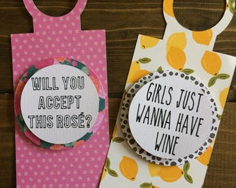 Set of 2 Wine Bottle Tags // Will You Accept This Rosé? | Girls Just Wanna Have Wine
