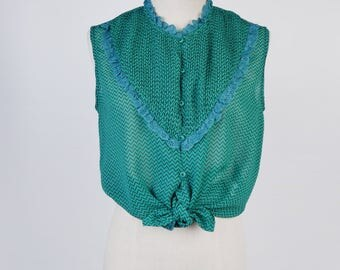 Fish Scale Print Ruff Collar Sleeveless Green Vintage Blouse Size M