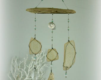 April Showers beach glass mobile, driftwood mobile