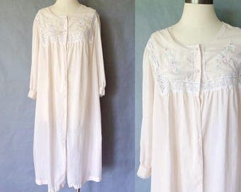 20% off using coupon! vintage blush embroidered sleepwear/lace robe/ grown women's size S/M/L