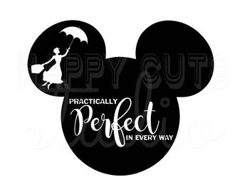 Practically Perfect in Every Way - Mary Poppins Mickey Matching Mother Daughter Family Disney World Disney Iron On Vinyl Decal 4 T Shirt 315