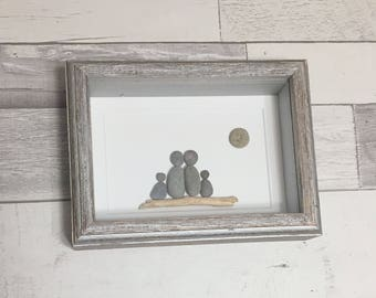 Pebble Art Family of Four ~ unique housewarming gift, 5th anniversary wood, retirement gift, birthday gift, thoughtful gift, custom family