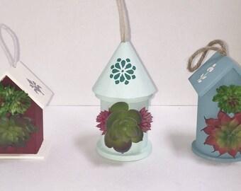 Ornaments - Mini Birdhouse Succulent, Party Favor, Faux Succulents, Desk Accessory, Unique Gift