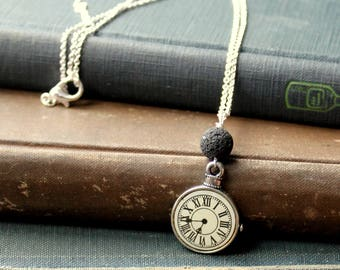 Lava Rock Clock Necklace