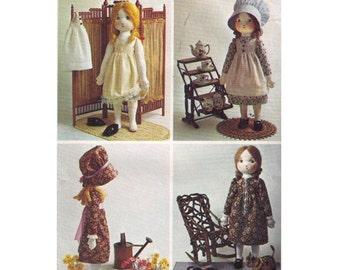 Simplicity 6006 sewing pattern Holly Hobbie rag doll pattern, doll clothes pattern doll dress shoes, doll hat pattern