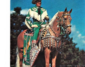 Vintage TX Texas Cowboy Country Western Postcard Art Miller Peavines Golden Major Horse Unposted Travel Souvenir