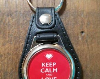 Keep Calm Love On Keychain, Key Fob, Love, Friend Gift, Anniversary Gift
