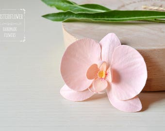 Peach Orchid Hair clip Peach wedding hair accessories Summer wedding Flower Hair Piece Girlfriend gift Tropical flowers Beach wedding party