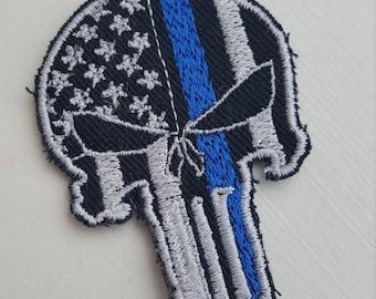Punisher Patch, Blue line Skull Patch, Police Patch
