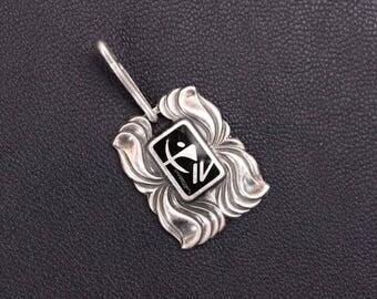 Sterling silver enamel Sagittarius Zodiac sign pendant. Made in USSR