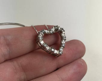 Vintage White Cubic Zirconia Baguette 925 Sterling Silver Open Heart Pendant Necklace