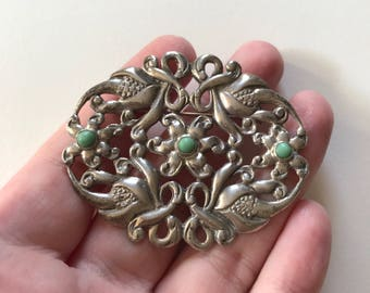 Antique/Vintage Green Turquoise Filigree Sterling Silver Flower Brooch