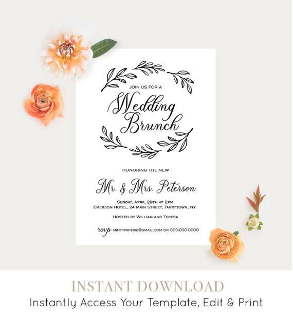 Wedding Brunch Template, Post Wedding Brunch Invitation, Fully Editable Template, Printable Brunch Invite, Rustic Wedding, DIY #027-106BR
