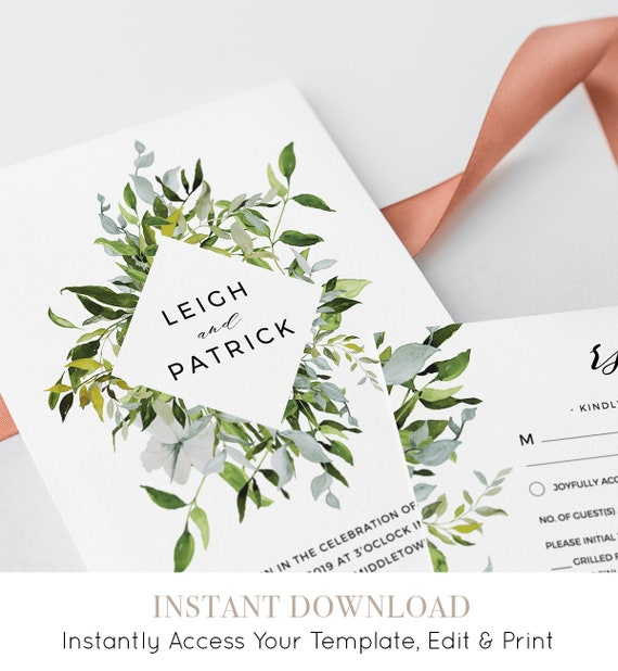 Wedding Invitation Template, Greenery Watercolor, INSTANT DOWNLOAD, Fully Editable, Invite, RSVP & Details Card, Printable, Templett #015