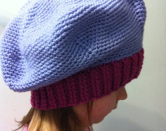 Hand crocheted and knitted beret.