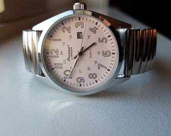 Silver Tone Watch with Pink Face by Precision Gruen