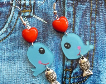 Earrings sterling silver 925 blue kawaii whale made of plastic crazy crazy red heart bead and charm fish sea marine