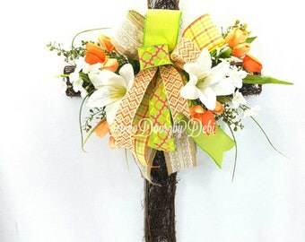 Easter/Spring floral twig cross, Front door floral Spring cross, Spring cross wreath