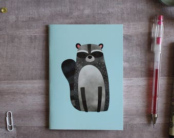 NOTEPAD. A6 Cute Raccoon Notepad. Soft 300 gsm Card Cover. 40 blank pages. Matte lamination pleasant to the touch.