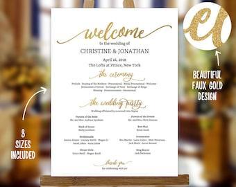 Golden Wedding Program Sign Template, Faux Gold Wedding Program, Golden Wedding Printable Poster, Editable Program Sign PDF Instant Download