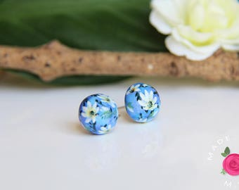 Ball studs - SECRET GARDEN - molded and handpainted - Island earrings
