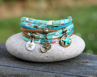 Bracelet liberty two towers _ green turquoise white aum / ohm star _ Bohemian Indian
