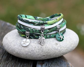 2 exotic MULTISTRAND bracelet turns _ _ nature tropical jungle bracelet green white and silver bracelet philodendron _