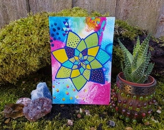 Lotus art print - lotus flower painting - bohemian wall art - Gypsy decor - boho decor - spiritual art - yoga painting - hippie