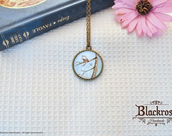 Antique Bronze Necklace-hand painted watercolor-bird on the branch