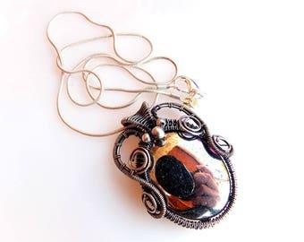 pyrite pendant-silver wrap-wire wrap-wire weave-artisan jewelry-handmade jewelry-wire wrapped jewelry-boho jewelry-Melissa Wood Jewelry