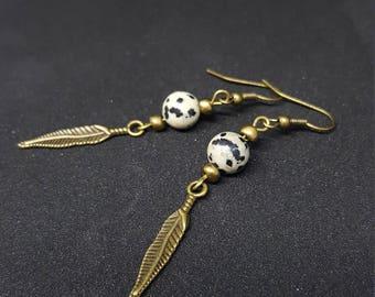 Bohemian earrings Feather & Dalmatian Stones - Jasper Dalmatian - retroboho - Bohemian chic