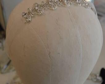 Organza Ribbon Custom Made Wedding Rhinestone Bracelet / Organza Ribbon Rhinestone Bracelet  or Headband