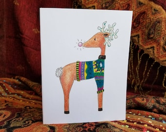 Ugly sweater cards, reindeer christmas, reindeer card, ugly sweater invite, christmas sweater, ugly sweater party, ugly sweater christmas