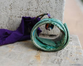 Raku ceramic Fashion pendant jewelry necklace handmade jewelry gifts for women for her green purple elegance collection