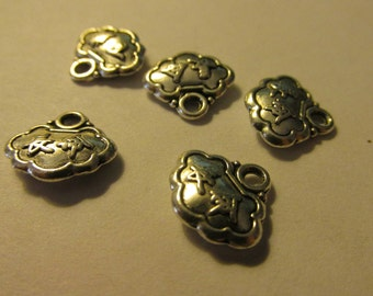 Tibet Silver Longevity Lock Charms, 12mm, Set of 5