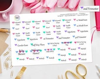 Pregnancy Planner Stickers - Great for Erin Condren, Kikki K, Filofax, Happy Planner, Project Life, Kate Spade etc Due Dates, Scans etc