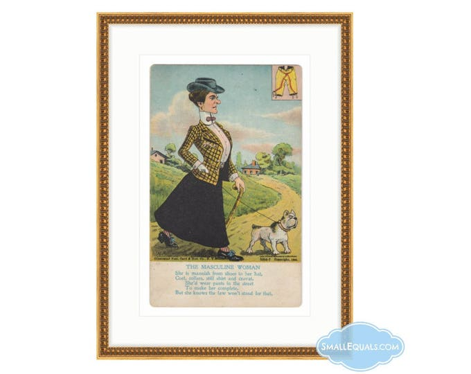"1905 postcard of ""masculine woman.""  Digital Downloadable image. Liza Cowan Ephemera Collections."