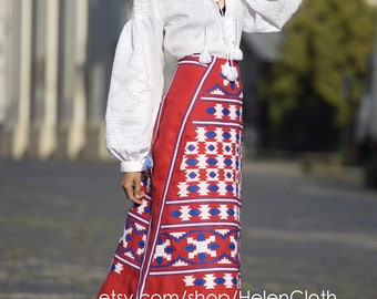 Embroidered Skirt with gometric pattern Ukrainian clothing Vyshyvanka Boho skirt