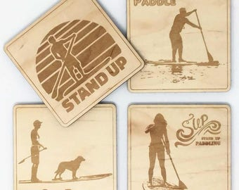 Set of four wooden coasters for SUP fans. Perfect gift for you stand up paddle friend. SUP surfer.
