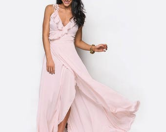 Blush Pink Bridesmaid Dress Maxi Dress Ruffle Long Dress Wrap Maxi Dress Satin Dress Beach Wedding Boho Dress