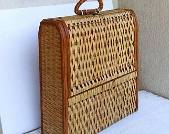 Rustic wine box vintage wine case wicker straw wooden wine crate wine ceremony Portuguese wine box cerca 1960s