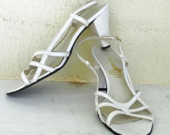 Womens white sandals size 6 leather high heel strappy sandals open toe slingbacks made in Portugal Vintage 80s