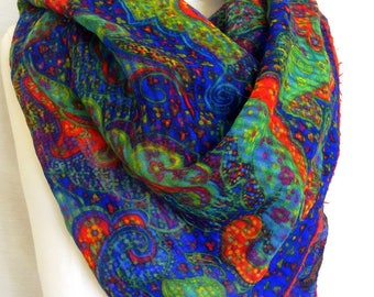 Yves Saint Laurent scarf authentic YSL wool shawl square neck scarf French designer scarf vintage distressed