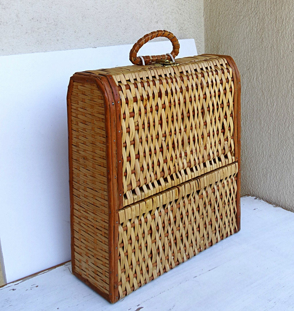 bo te vin rustique vintage vin caisse en osier paille caisse. Black Bedroom Furniture Sets. Home Design Ideas