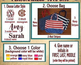 SALE***Personalized Patriotic Accessory Bag