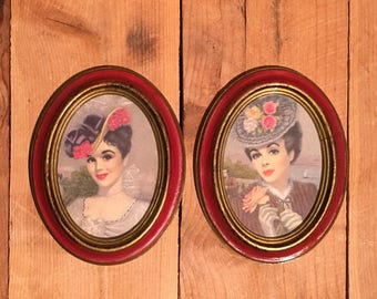 Oval Pictures of Victorian Ladies Made in Italy