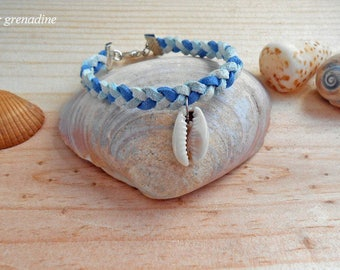 Bracelet suede braided blue shell cowrie, gift idea celebrating the grand mothers, Easter