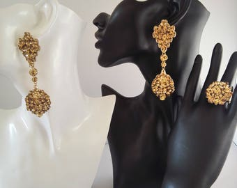 Topaz classic chandelier earring and earthy flower ring set