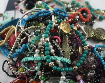 Junk Jewelry Grab Bag Bracelets Lot of over 60 bracelets Up-cycle Recycle Beads